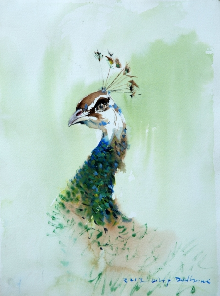 Animals Watercolor Art Painting title 'Untitled 28' by artist Dilip Dudhane