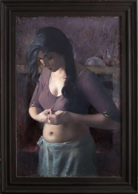 Figurative Oil Art Painting title 'Untitled 5' by artist Dilip Dudhane