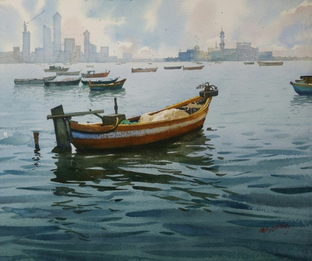 Seascape Watercolor Art Painting title 'A Sunny Day And Boat' by artist Abhijit Jadhav