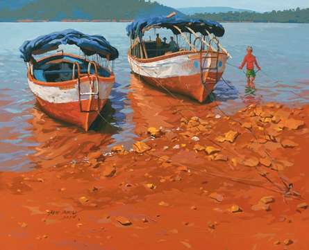 Landscape Acrylic Art Painting title Back To Boats At Bamnoli by artist Abhijit Jadhav