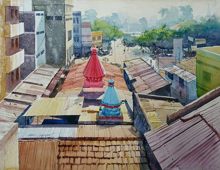 Cityscape Watercolor Art Painting title 'Enchanting Temple' by artist Abhijit Jadhav