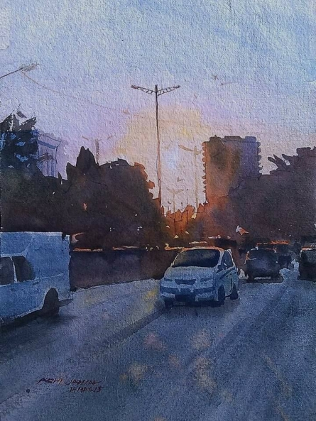 Cityscape Watercolor Art Painting title 'Evening Light' by artist Abhijit Jadhav