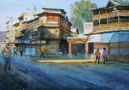 Cityscape Watercolor Art Painting title Glorious Morning by artist Abhijit Jadhav