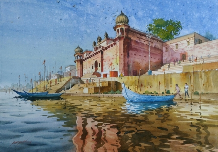 Cityscape Watercolor Art Painting title 'Glow Of Varanasi 1' by artist Abhijit Jadhav