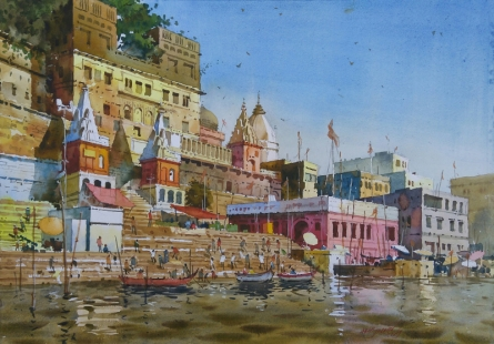 Cityscape Watercolor Art Painting title 'Glow Of Varanasi 2' by artist Abhijit Jadhav