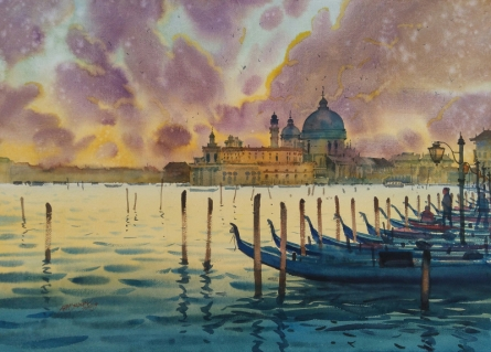 Seascape Watercolor Art Painting title 'Heaven On Earth Venice' by artist Abhijit Jadhav