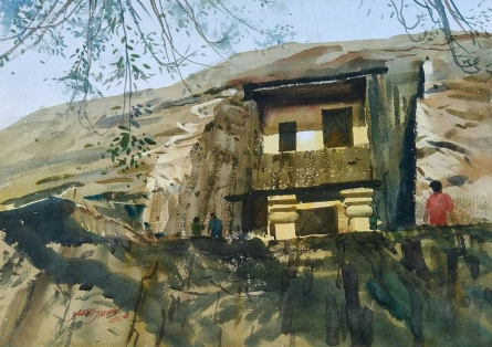 Cityscape Watercolor Art Painting title 'Karle Caves' by artist Abhijit Jadhav
