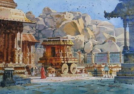 Cityscape Watercolor Art Painting title 'Lemon Light On Stone Chariot Hampi' by artist Abhijit Jadhav