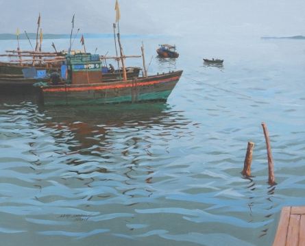 Seascape Acrylic Art Painting title Mood Of The Sea by artist Abhijit Jadhav
