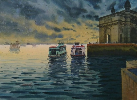 Cityscape Watercolor Art Painting title 'One Evening At Gateway Of India' by artist Abhijit Jadhav