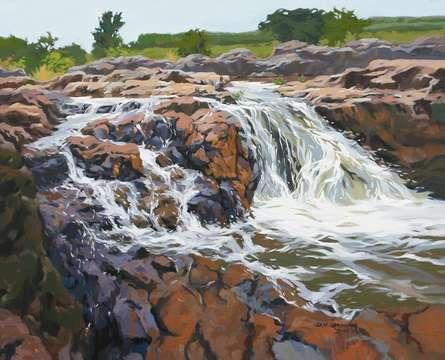 Landscape Acrylic Art Painting title Pravah by artist Abhijit Jadhav