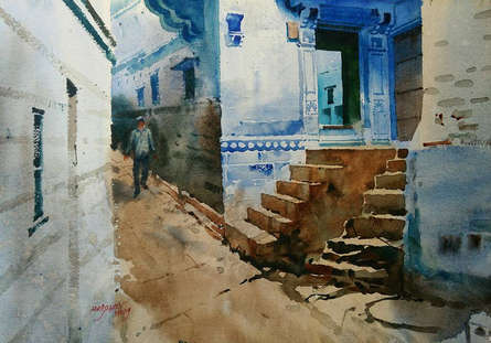 Cityscape Watercolor Art Painting title 'Rajasthani Blue Home' by artist Abhijit Jadhav
