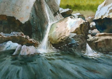 Cityscape Watercolor Art Painting title 'Small Waterfall' by artist Abhijit Jadhav