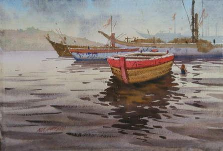 Seascape Watercolor Art Painting title 'Varanasi Boats' by artist Abhijit Jadhav