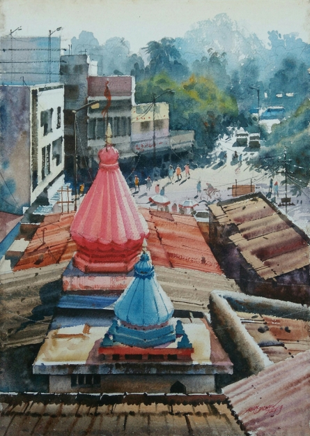 Cityscape Watercolor Art Painting title 'Winter Morning' by artist Abhijit Jadhav