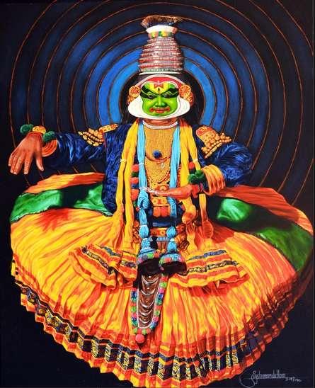 Figurative Acrylic Art Painting title Dance Kathakali 2 by artist Prashant Yampure