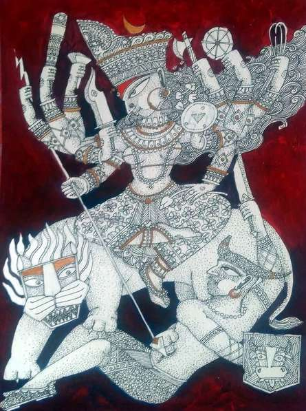 Durga 2 | Painting by artist Samik De | acrylic-ink | Paper