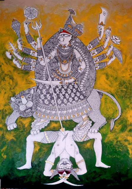 Religious Acrylic-ink Art Painting title 'Durga 4' by artist Samik De