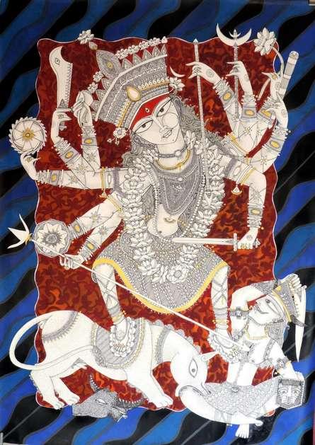 Religious Acrylic-ink Art Painting title 'Durga 5' by artist Samik De
