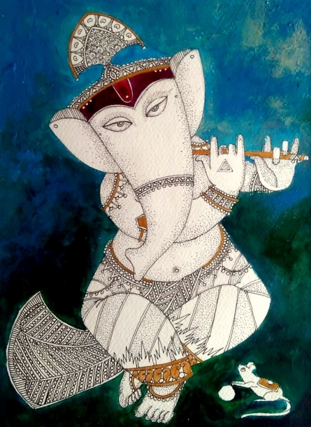 Ganesh 3 | Painting by artist Samik De | acrylic-ink | Paper