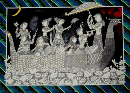Religious Acrylic-ink Art Painting title Nauka Vilash by artist Samik De
