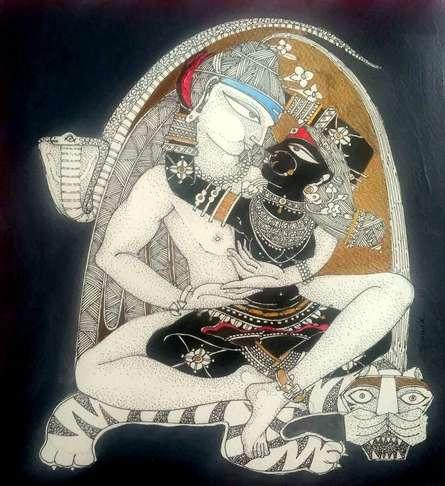 Religious Acrylic-ink Art Painting title Shiv Durga by artist Samik De