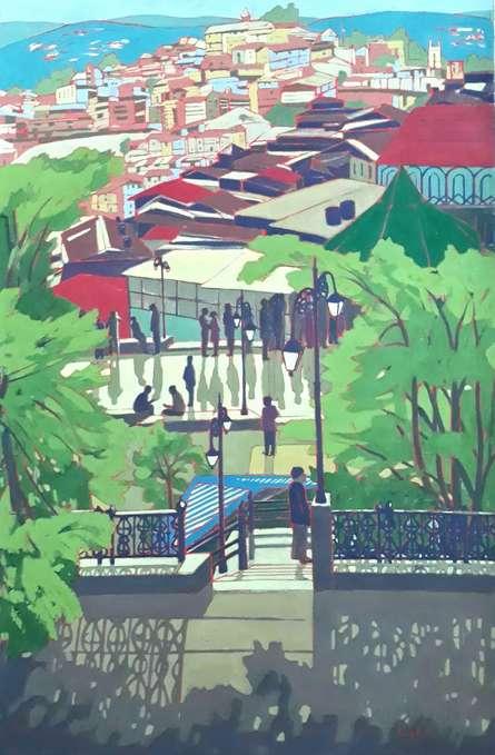 Cityscape Tempera Art Painting title 'The Shimla' by artist Sujit Das