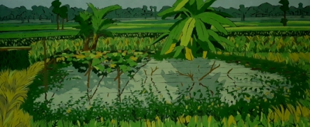 Nature Tempera Art Painting title 'Untitled 17' by artist Sujit Das