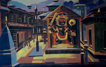 Cityscape Tempera Art Painting title 'Untitled 18' by artist Sujit Das