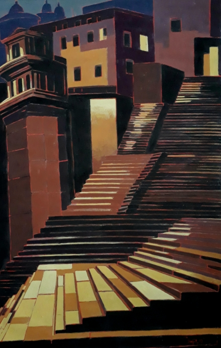 Cityscape Tempera Art Painting title 'Untitled 19' by artist Sujit Das