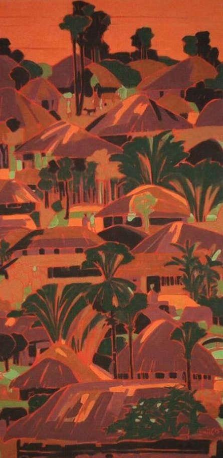 Landscape Tempera Art Painting title 'Untitled 21' by artist Sujit Das