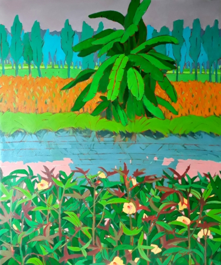 Nature Acrylic Art Painting title 'Untitled 7' by artist Sujit Das