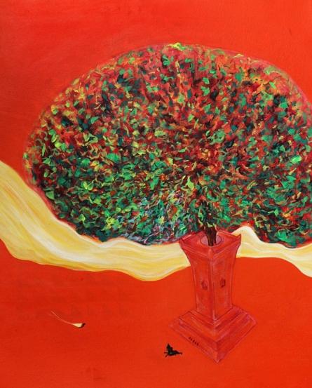 Vijay Ganorkar | Acrylic Painting title Krishna With Tulsi 1 on Canvas | Artist Vijay Ganorkar Gallery | ArtZolo.com