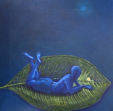 Figurative Acrylic Art Painting title Relax by artist Virendra Chopde