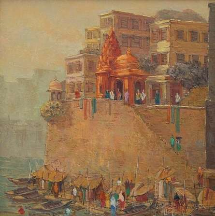 Cityscape Oil Art Painting title Banaras 1 by artist Yashwant Shirwadkar