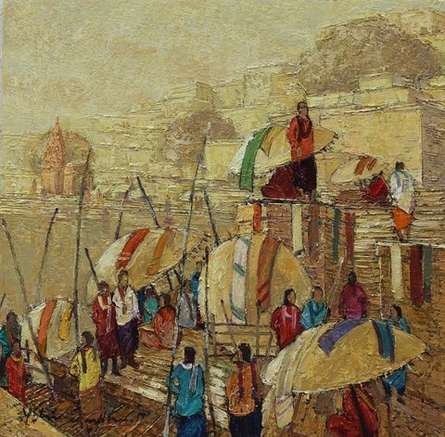 Cityscape Oil Art Painting title 'Banaras 2' by artist Yashwant Shirwadkar