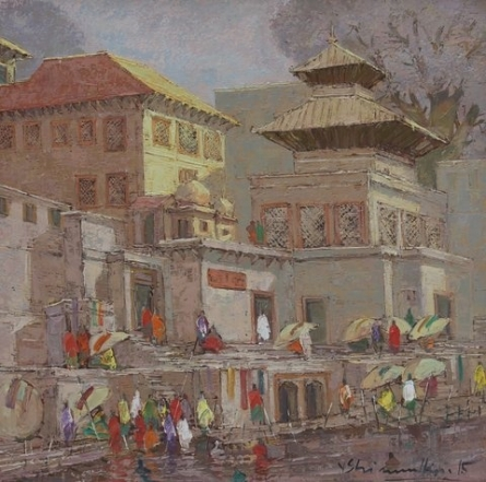 Cityscape Oil Art Painting title 'Banaras 3' by artist Yashwant Shirwadkar