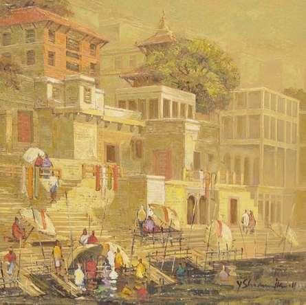 Yashwant Shirwadkar | Oil Painting title Banaras 4 on Canvas | Artist Yashwant Shirwadkar Gallery | ArtZolo.com