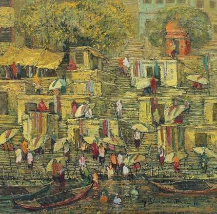Cityscape Oil Art Painting title 'Banaras 5' by artist Yashwant Shirwadkar