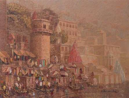 Cityscape Oil Art Painting title 'Banaras 9' by artist Yashwant Shirwadkar