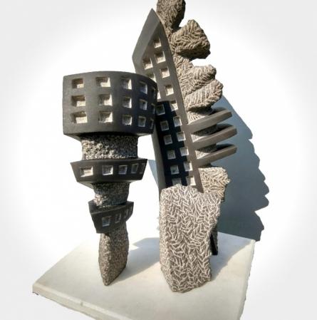 Stone Sculpture titled 'Window 5' by artist Yogesh Lokhande