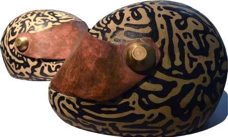Triveni Tiwari | Helmet Series 2 Sculpture by artist Triveni Tiwari on Ceramic, Brass | ArtZolo.com