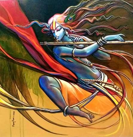 Religious Acrylic Art Painting title Krishna 2 by artist Manoj Das