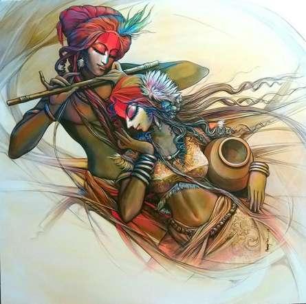 Radha Krishna 1 | Painting by artist Manoj Das | acrylic | Canvas