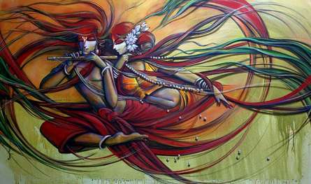 Religious Acrylic Art Painting title 'Radha Krishna 2' by artist Manoj Das