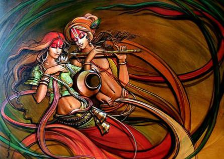 Religious Acrylic Art Painting title Radha Krishna 7 by artist Manoj Das