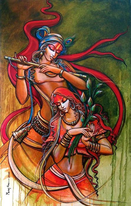 Religious Acrylic Art Painting title Radha Krishna 8 by artist Manoj Das