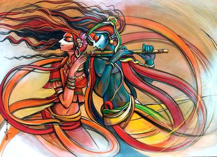 Religious Acrylic Art Painting title Radha Krishna 9 by artist Manoj Das