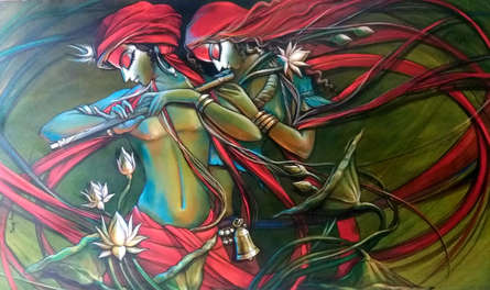 Manoj Das | Acrylic Painting title Radha krishna 6 on Canvas | Artist Manoj Das Gallery | ArtZolo.com