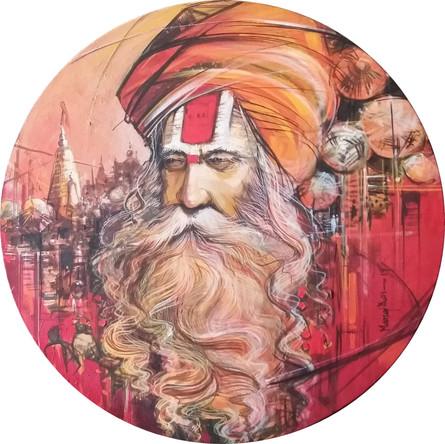 Religious Acrylic Art Painting title 'Sadhu 1' by artist Manoj Das